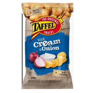 Traškučiai TAFFEL S.CREAM & ONION CHIPS, 210 g